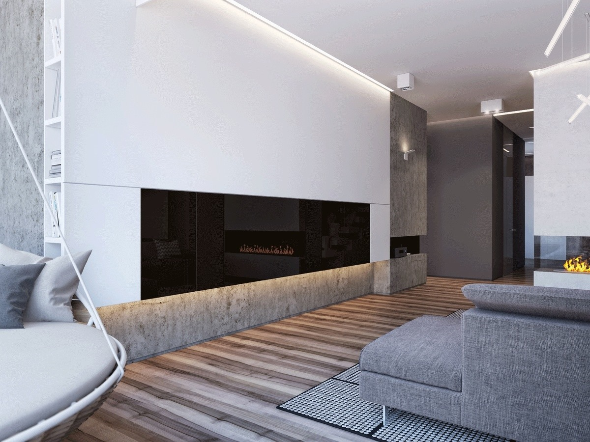 Grayscale And White Interior - Two apartments with sleek grayscale interiors