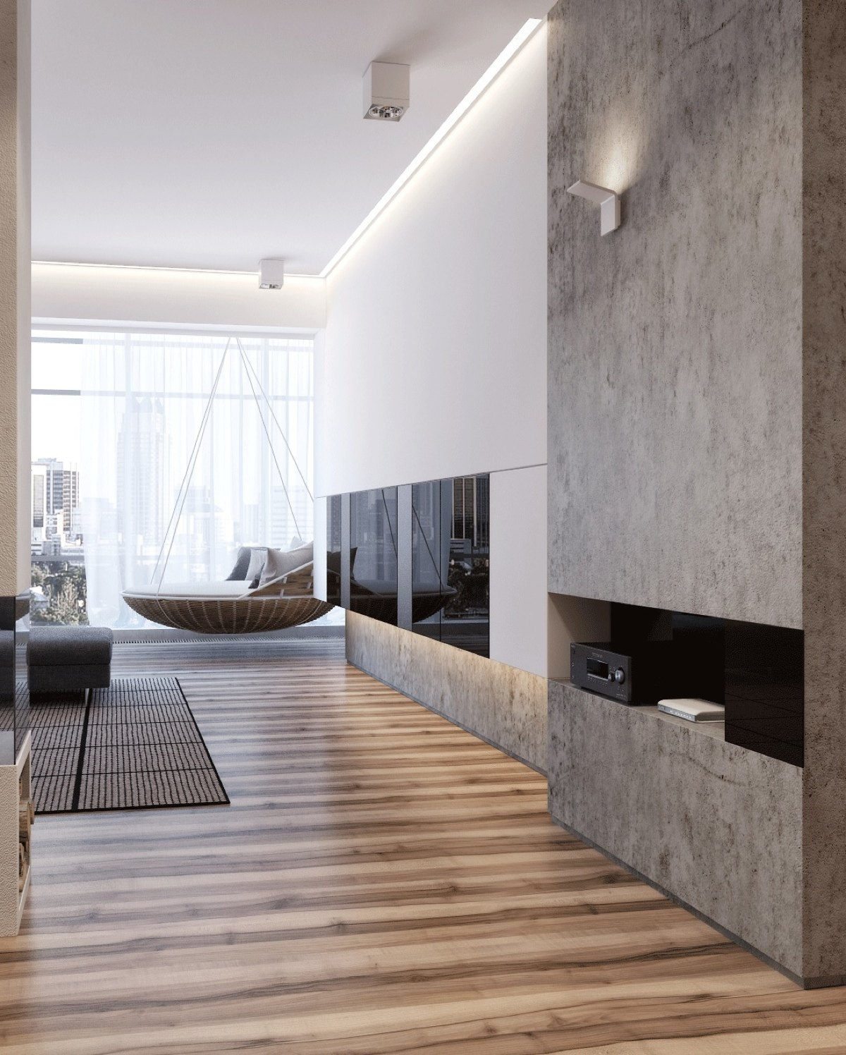Grayscale And Wood Apartment - Two apartments with sleek grayscale interiors