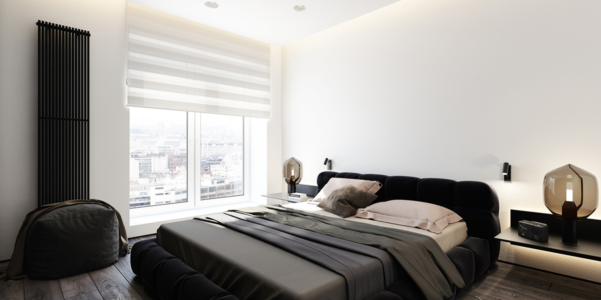 Grayscale Bedroom With Brown Accents - 6 perfectly minimalistic black and white interiors