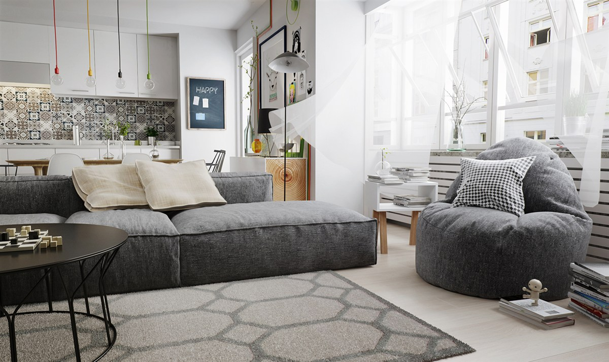 Grayscale Nordic Living Room - 10 stunning apartments that show off the beauty of nordic interior design