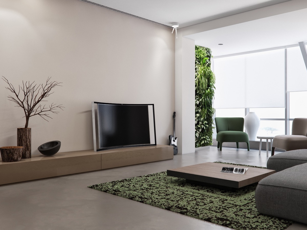 Green And Gray Living Room - Two apartments with sleek grayscale interiors
