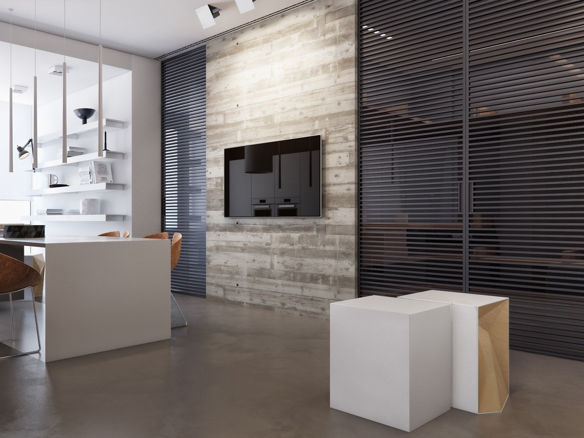 Horizontal Wall Panels In Kitchen - Two apartments with sleek grayscale interiors