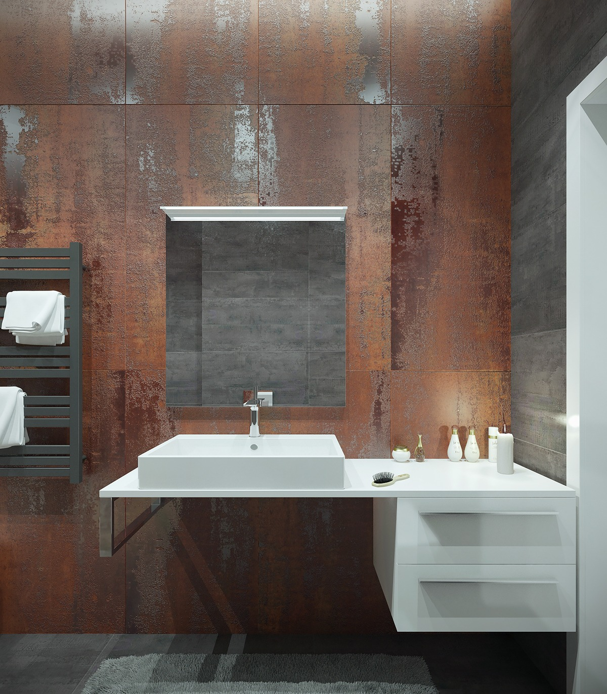 Exposed concrete concrete walls and wall ideas on pinterest for Bathroom ideas industrial