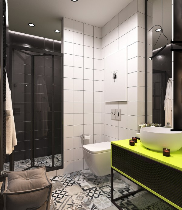 A pair of super small apartments with dazzling neon accents for Super small bathroom