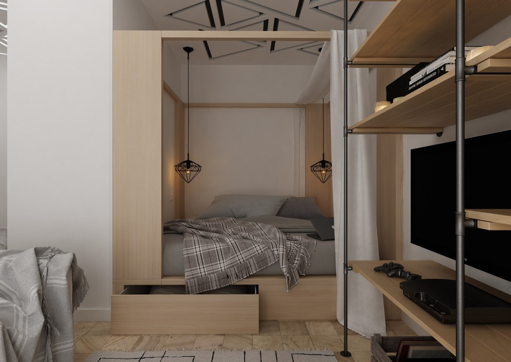 Loft Apartment Bed Ideas - 4 super tiny apartments under 30 square meters includes floor plans