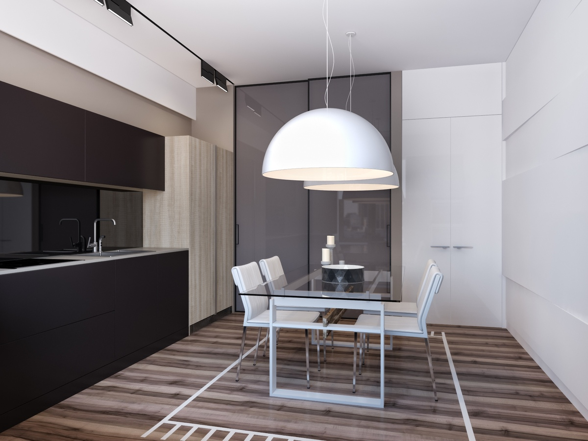 Luxurious Dining Room Inspiration - Two apartments with sleek grayscale interiors