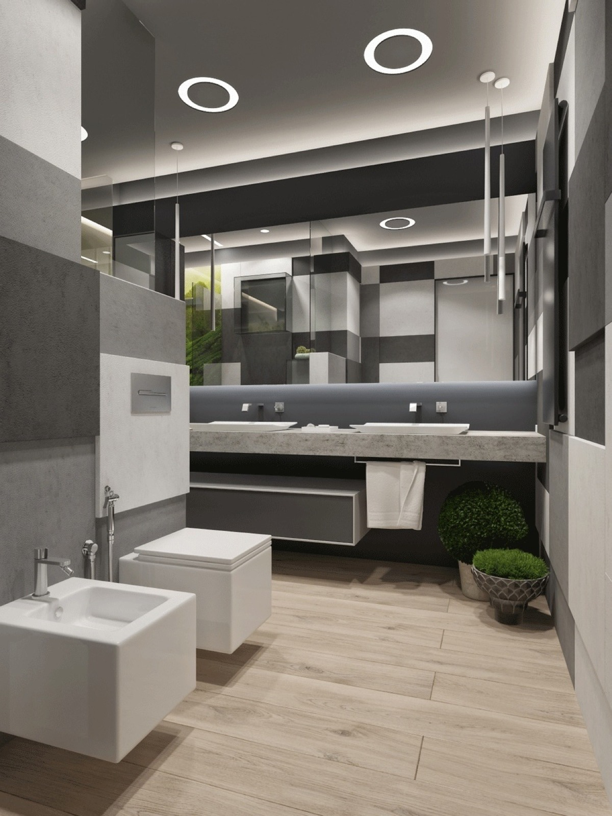 Luxurious Gray And Green Bathroom - Two apartments with sleek grayscale interiors