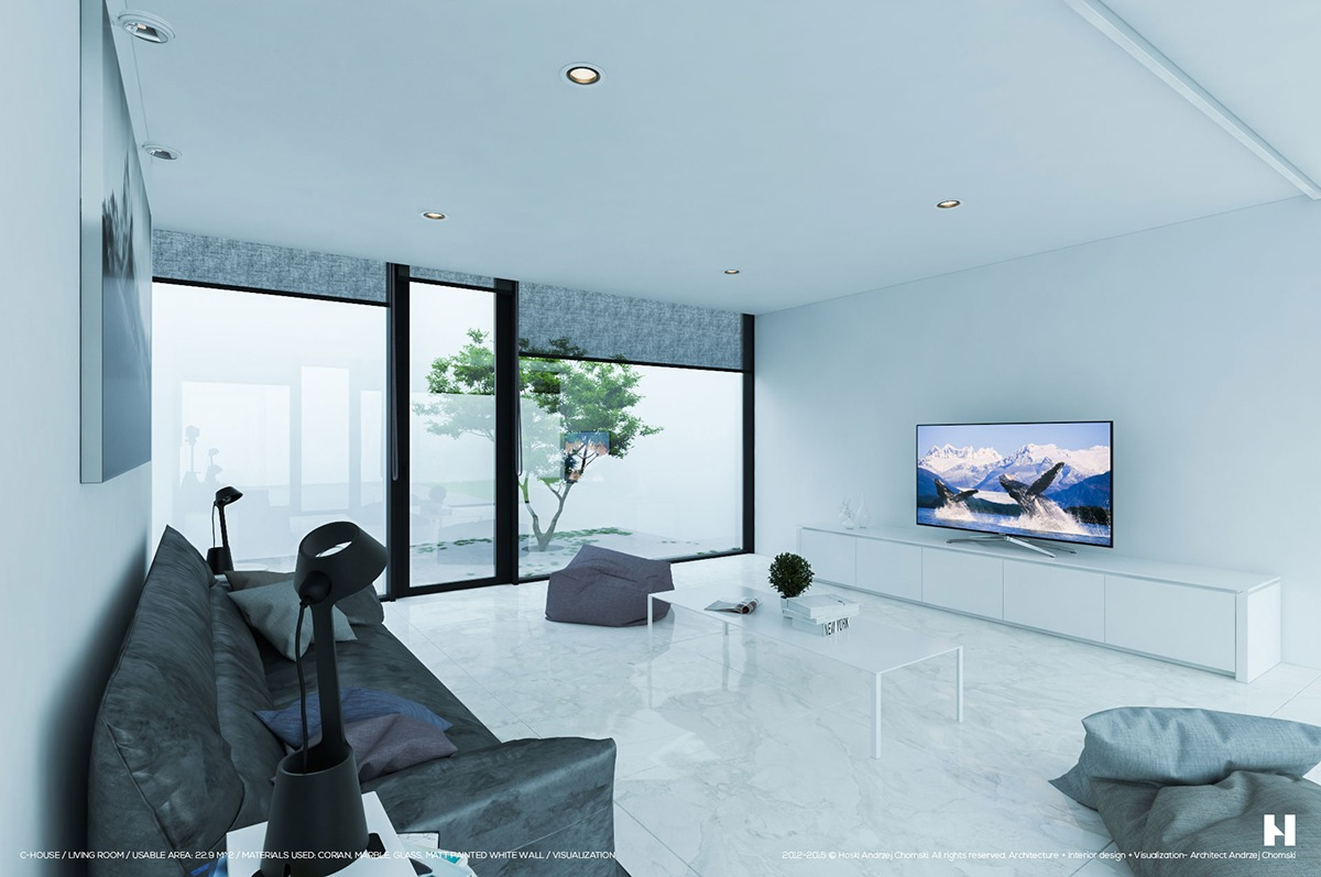Luxurious Grayscale Interior With Courtyard - 6 perfectly minimalistic black and white interiors