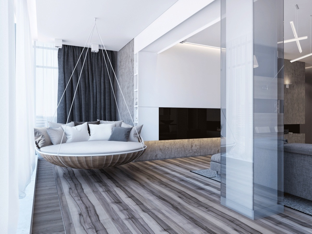 Luxurious Hanging Bed Inspiration - Two apartments with sleek grayscale interiors