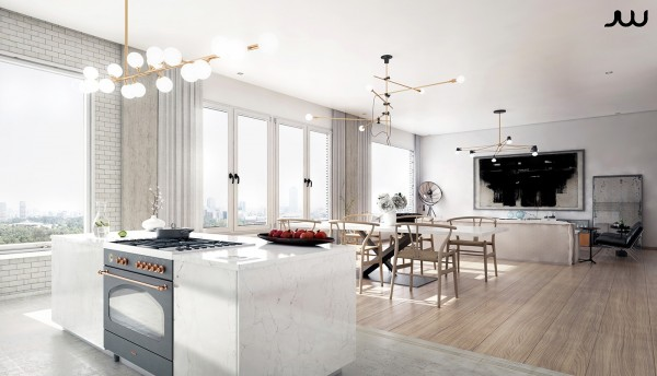 The kitchen takes a different and more straightforward approach to luxury, delineated by a complete transition from wood and steel to marble and copper.