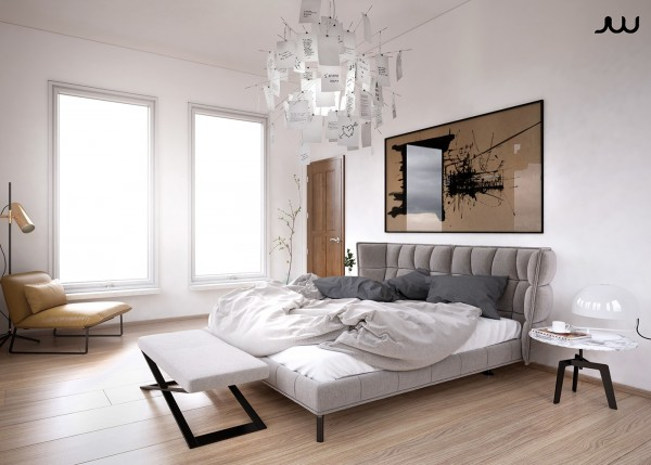 We'll conclude our look at this first home with a quick peek at the bedroom. The paper note chandelier by Ingo Maurer is an especially cool idea, and wouldn't be too difficult to recreate as a DIY project. Hang doodles, kid's drawings, inspirational messages, meaningful notes, etc.