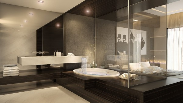 To complete the theme of rest and relaxation, the bathroom even goes so far as to include a waterfall that cascades from the sink into the soak tub.