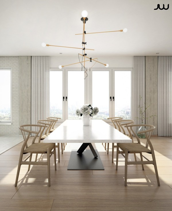 The cantilever theme works to create a sense of drama and movement, while light and classic forms offset the boldness of the artistic dining table.