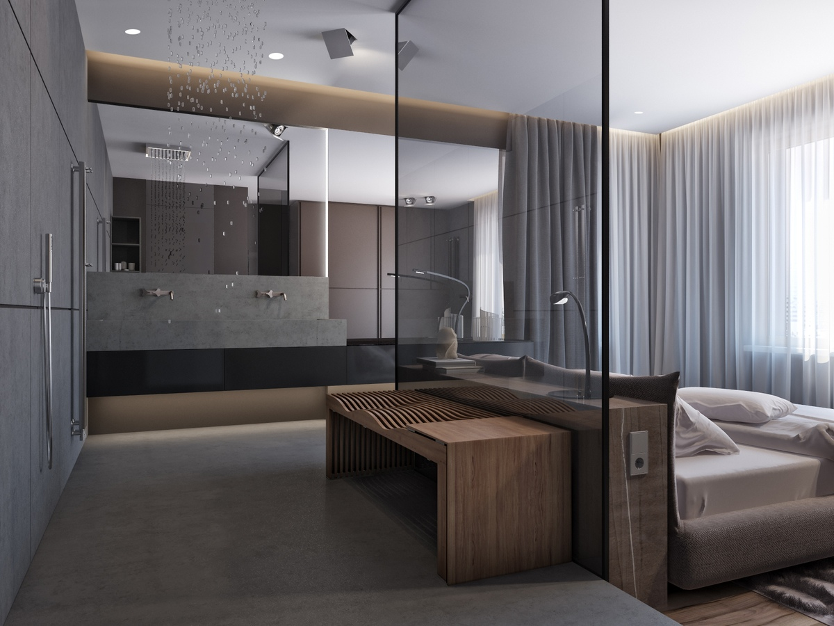 Luxury Gray And Wood Bedroom - Two apartments with sleek grayscale interiors