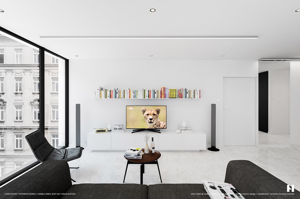 6 perfectly minimalistic black and white interiors for White minimalist living room