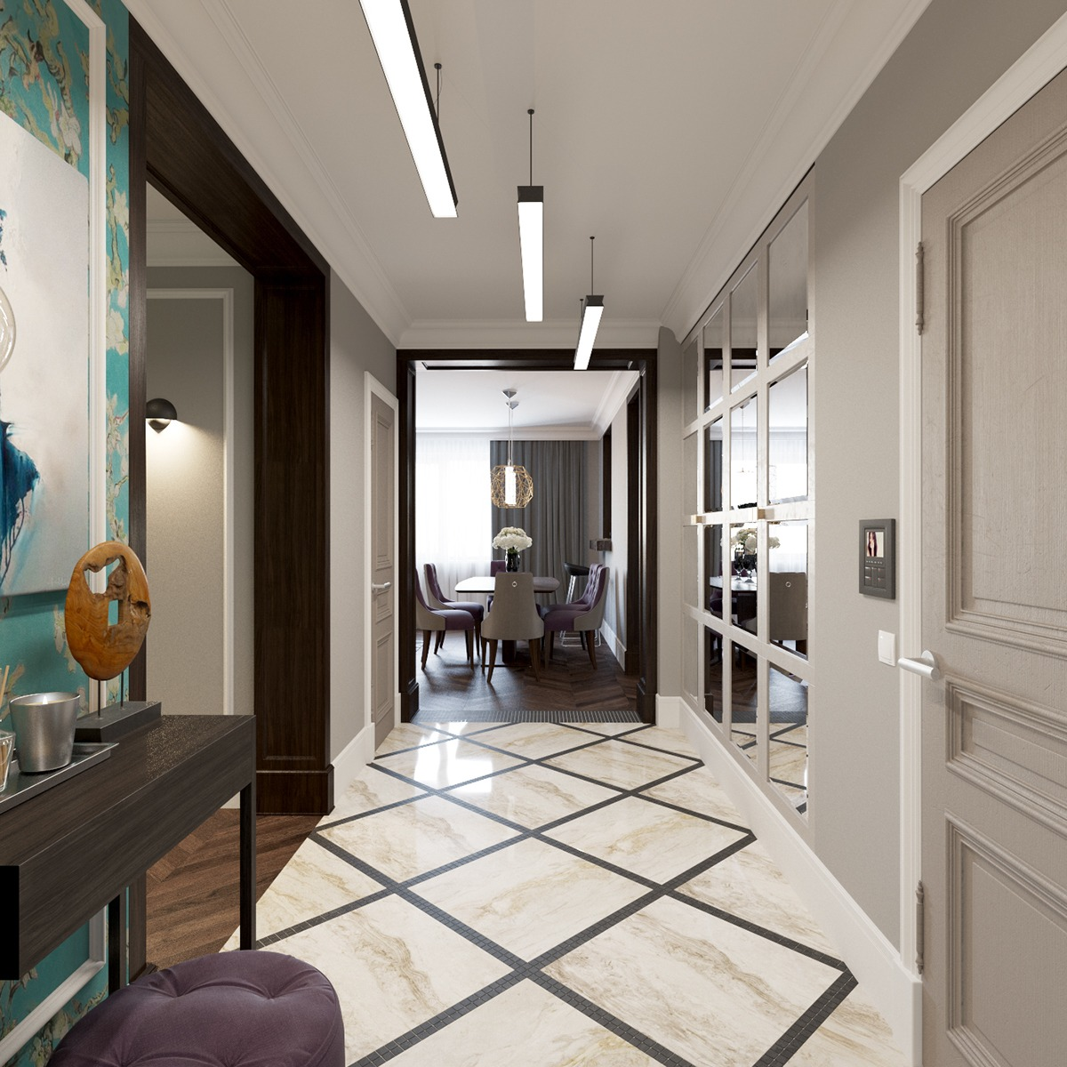 2 beautiful home interiors in art deco style for The interior deco
