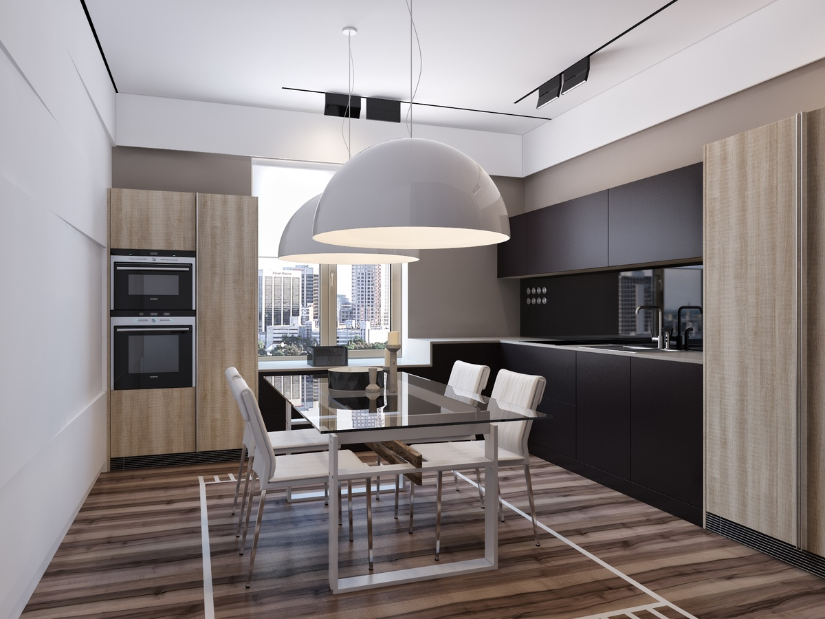 Mixed Wood Dining Room Design - Two apartments with sleek grayscale interiors