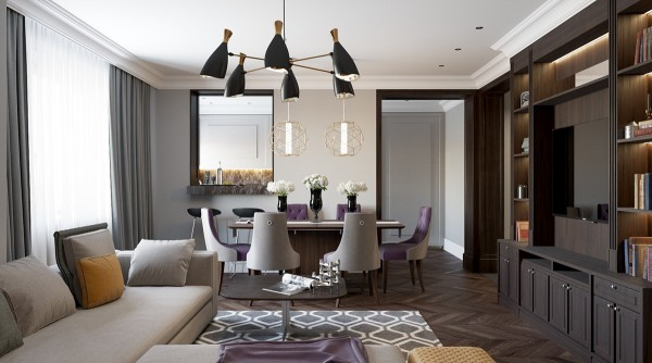 The Living Room Shares Its Clean And Open Design With A Formal Dining Space Both Linked By Purple Textiles Brass Accents