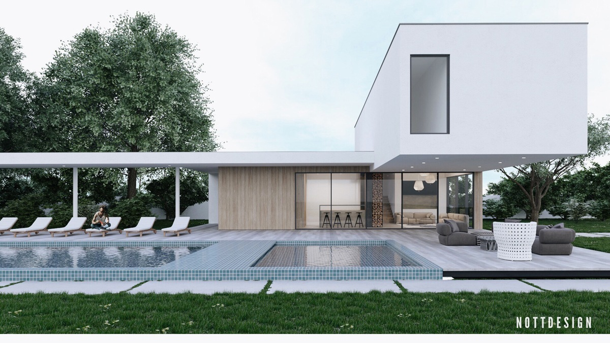 Patio wood lounge chairs - An Amazing Cantilever Home With Brilliantly Integrated