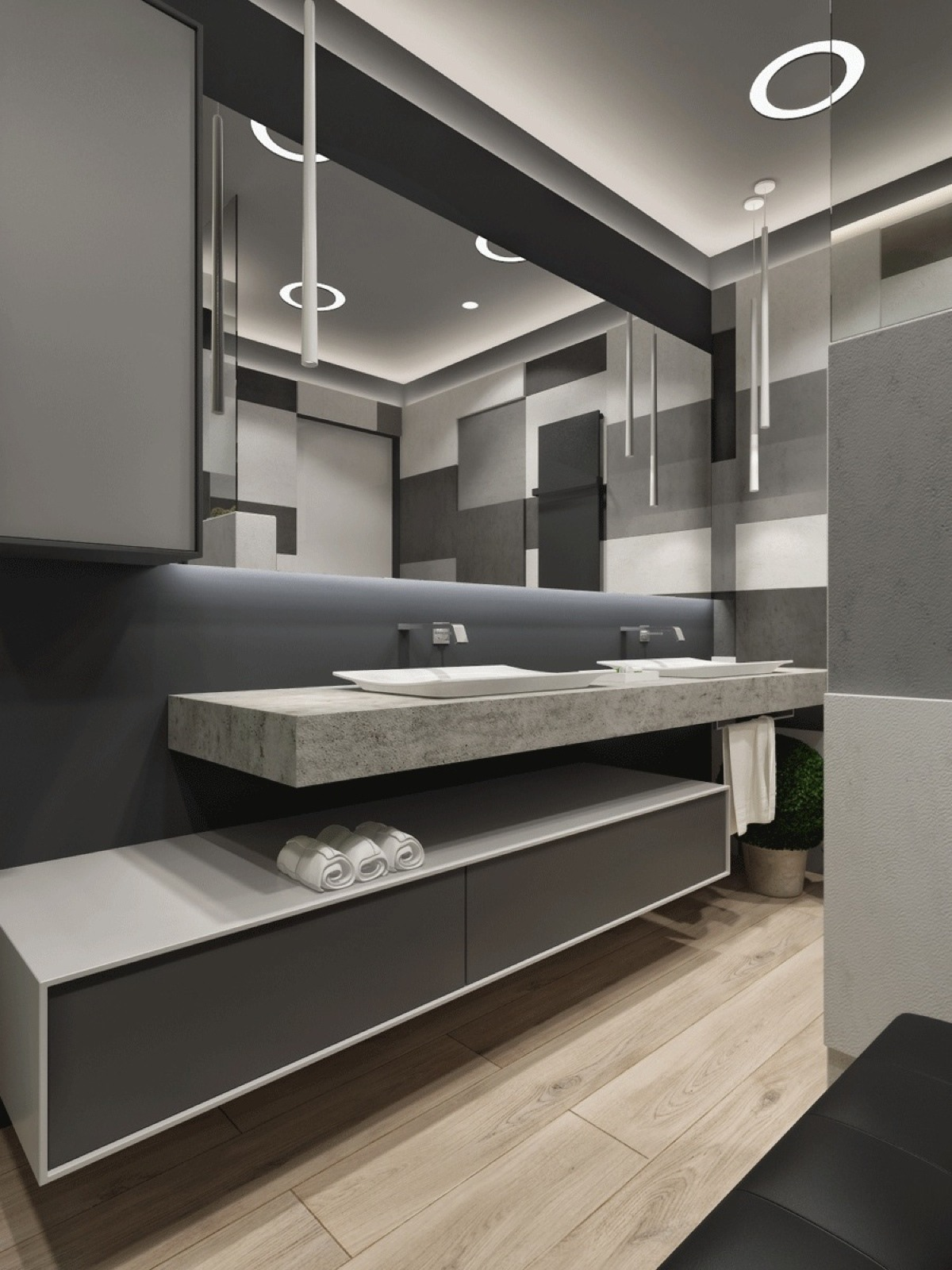 Modern Grayscale Bathroom - Two apartments with sleek grayscale interiors