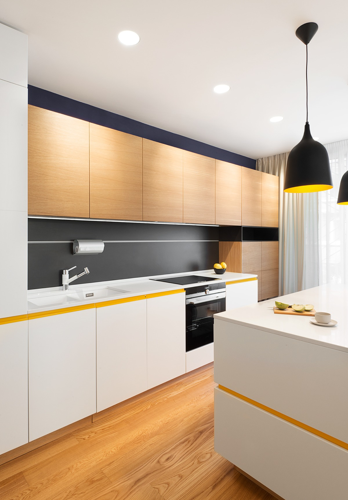 Modern Retro Inspired Kitchen Design - A mid century inspired apartment with modern geometric accents