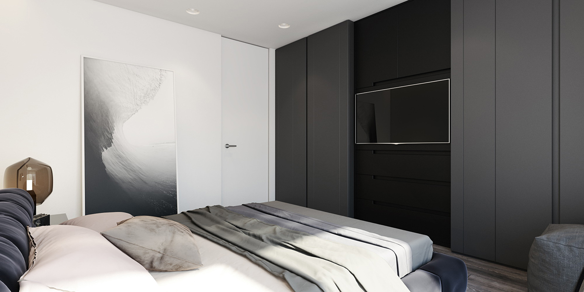 Modernistic Grayscale Bedroom - 6 perfectly minimalistic black and white interiors