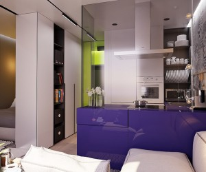 Each divider is useful and versatile. The purple volume is a kitchen countertop with cabinets in each side, and the wall between the kitchen and the bedroom serves as storage for clothes and features a handy bookshelf facing toward the social spaces.