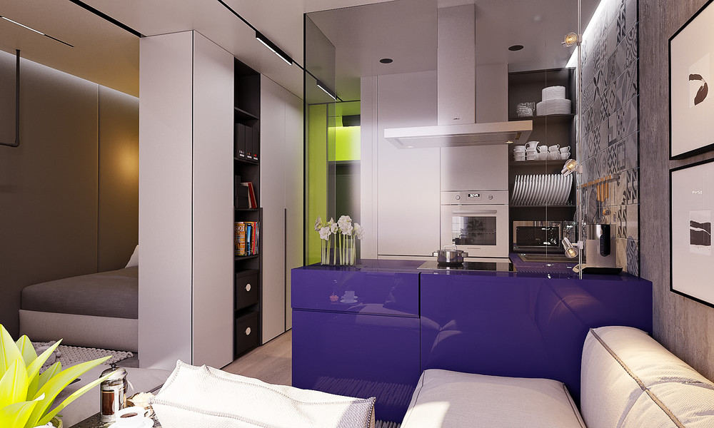 Pair Of Super Small Apartments With Dazzling Neon Accents