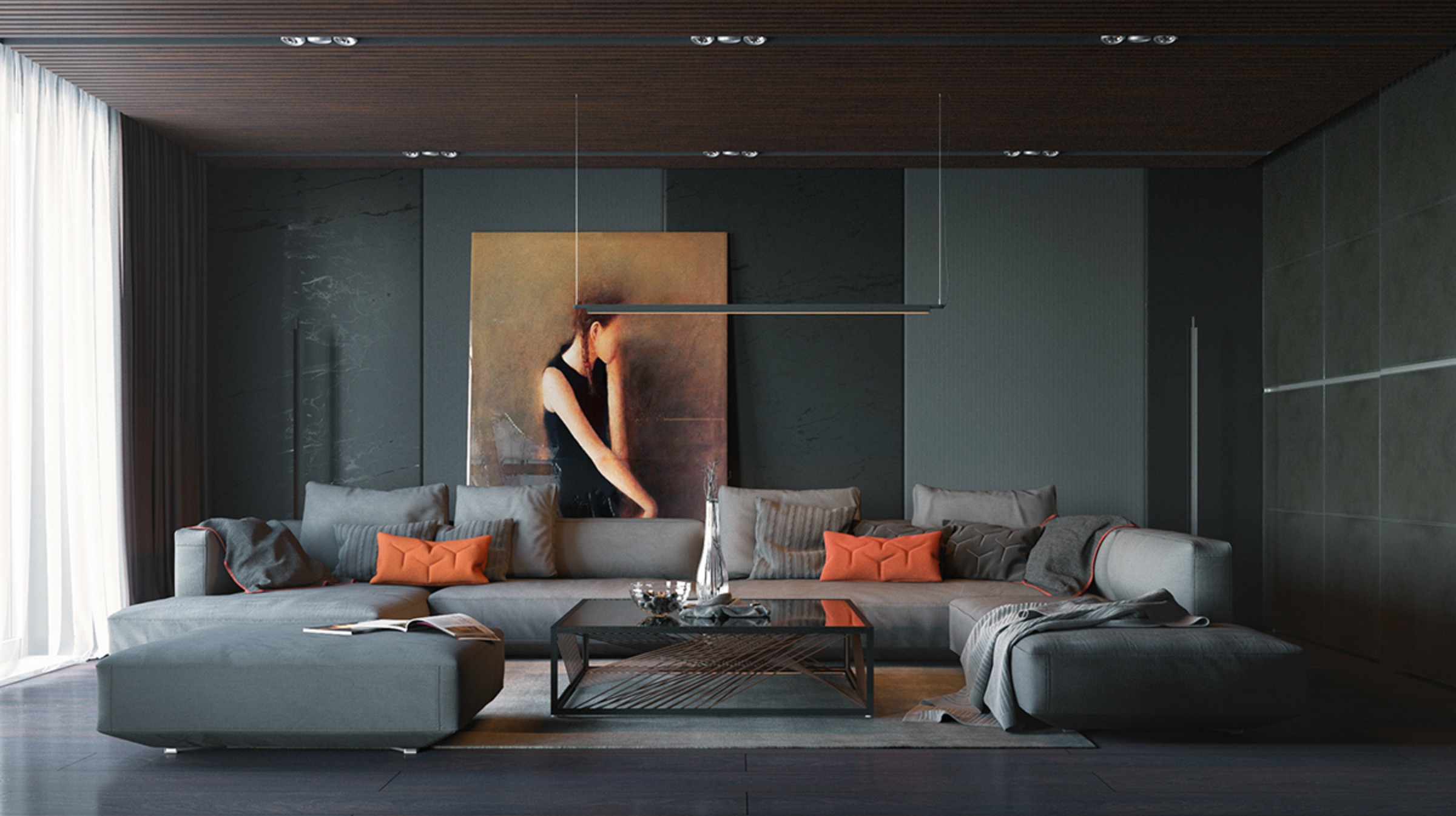 Orange And Black Interior Artwork