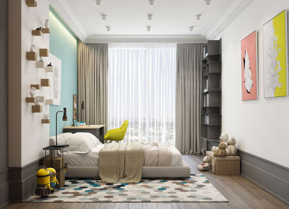 Pastel Primary Color Palette - A pair of modern homes with distinctively bright color themes