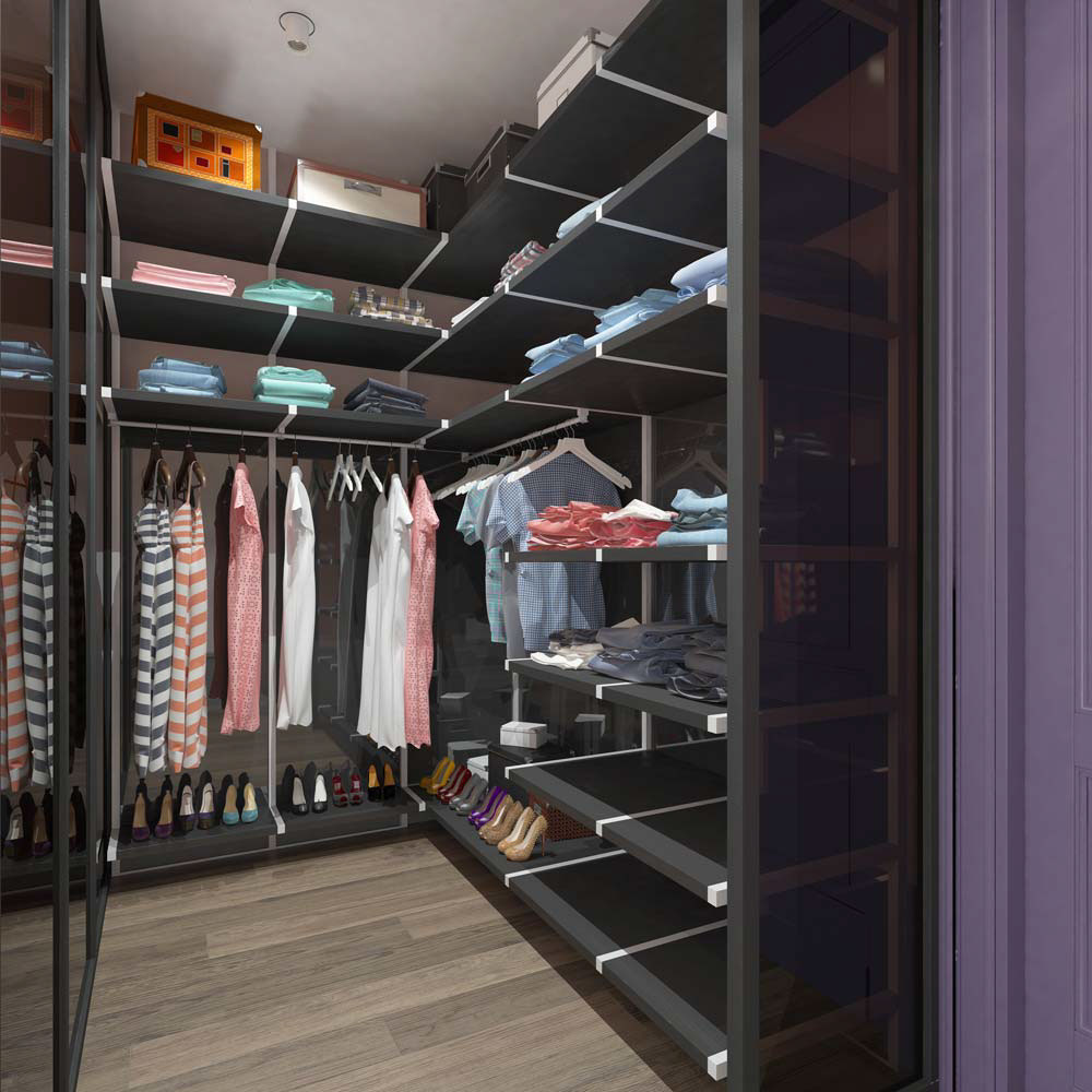 Purple Walk In Closet Ideas - A pair of modern homes with distinctively bright color themes