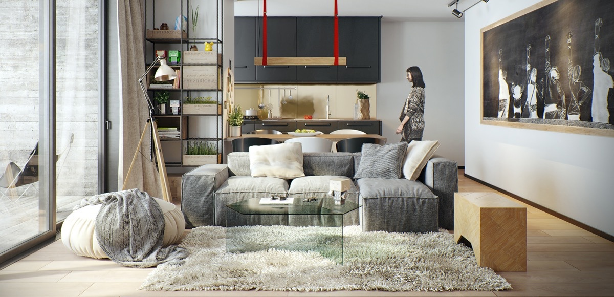 Red And Gray Nordic Home - 10 stunning apartments that show off the beauty of nordic interior design