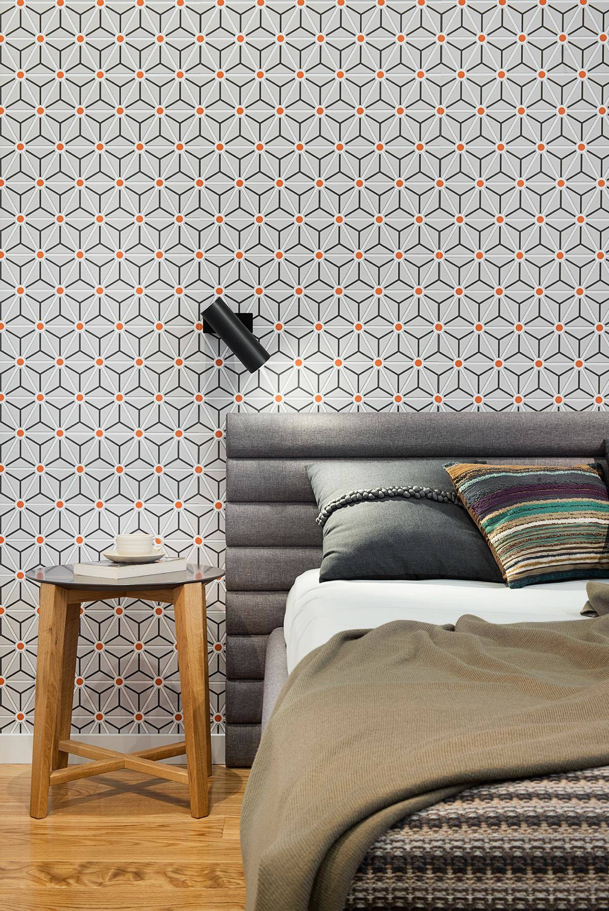 Retro Geometric Bedroom Theme - A mid century inspired apartment with modern geometric accents