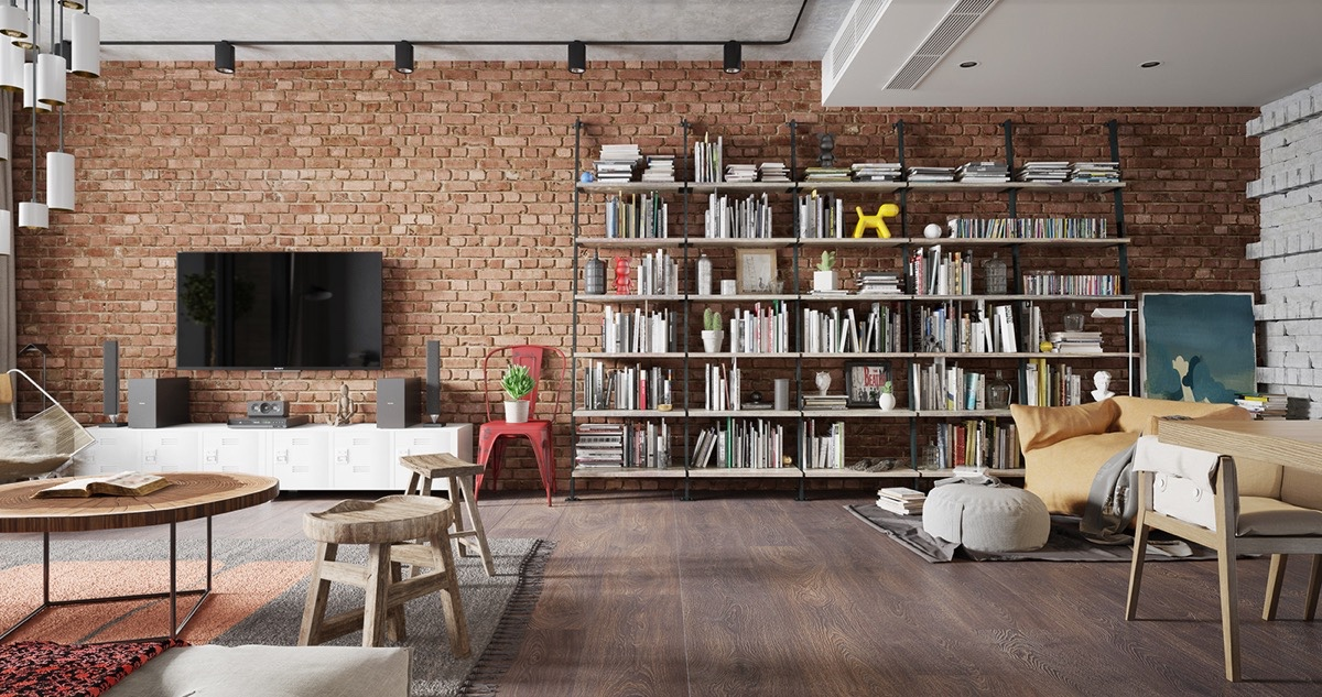 Scandinavian Exposed Brick Wall - 10 stunning apartments that show off the beauty of nordic interior design