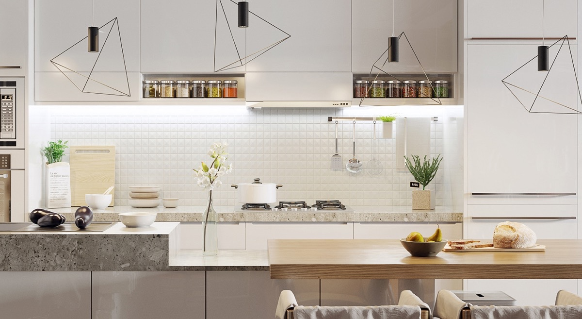Scandinavian Kitchen With Geometric Accents - 10 stunning apartments that show off the beauty of nordic interior design