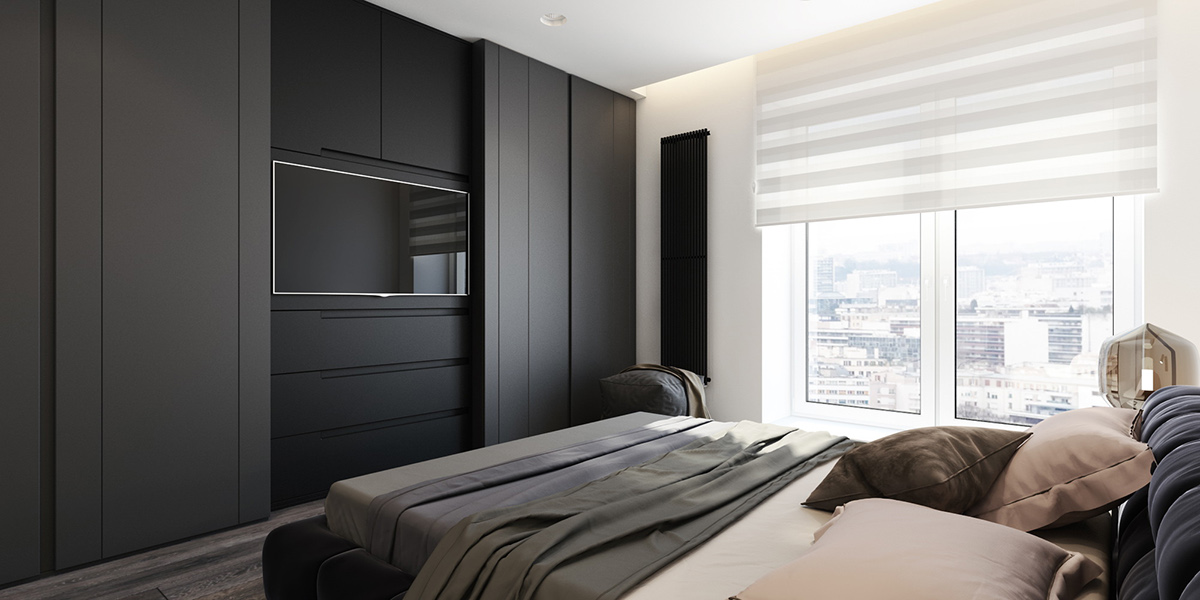 Sliding Bedroom Television Cabinet - 6 perfectly minimalistic black and white interiors