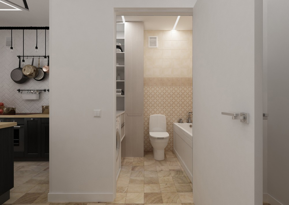 Soft Bathroom Color Themes - 4 super tiny apartments under 30 square meters includes floor plans