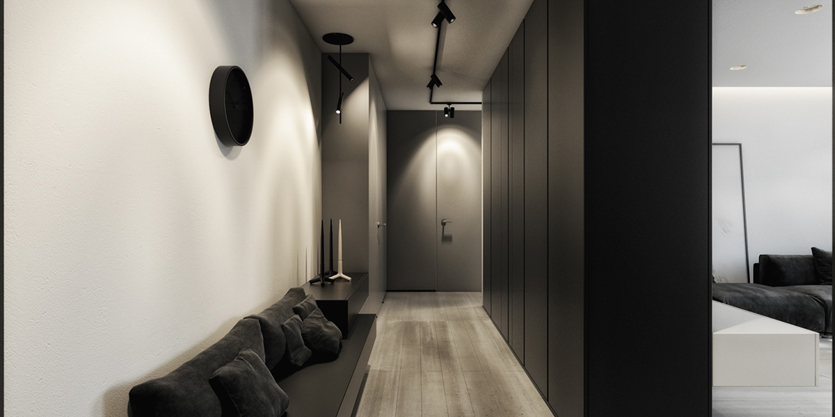 Sophisticated Black And White Hallway - 6 perfectly minimalistic black and white interiors