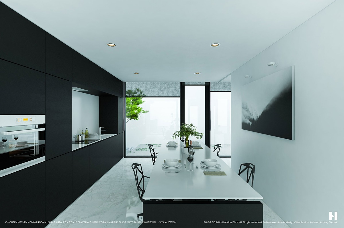 6 perfectly minimalistic black and white interiorsKitchen Ceiling Minimalist Design #21