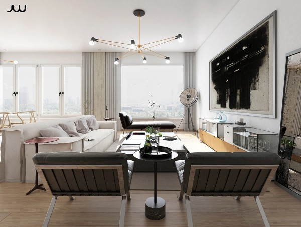 Our first luxury home is a concept for an apartment overlooking Central Park. Its strong Bauhaus themes contrast against a light and chic interior: natural materials, light textiles, utilitarian forms, and sharp angles come together to define a varied yet cohesive character within this stylish space.