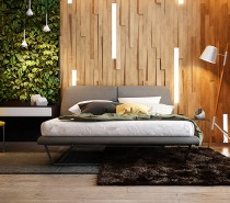 This first bedroom utilizes an ecological theme contrasted with perfectly contemporary styling. A lush vertical garden and angled wood panels create an atmosphere few would be soon to forget – and while these features might be the most difficult to emulate, they're certainly not impossible to adapt.