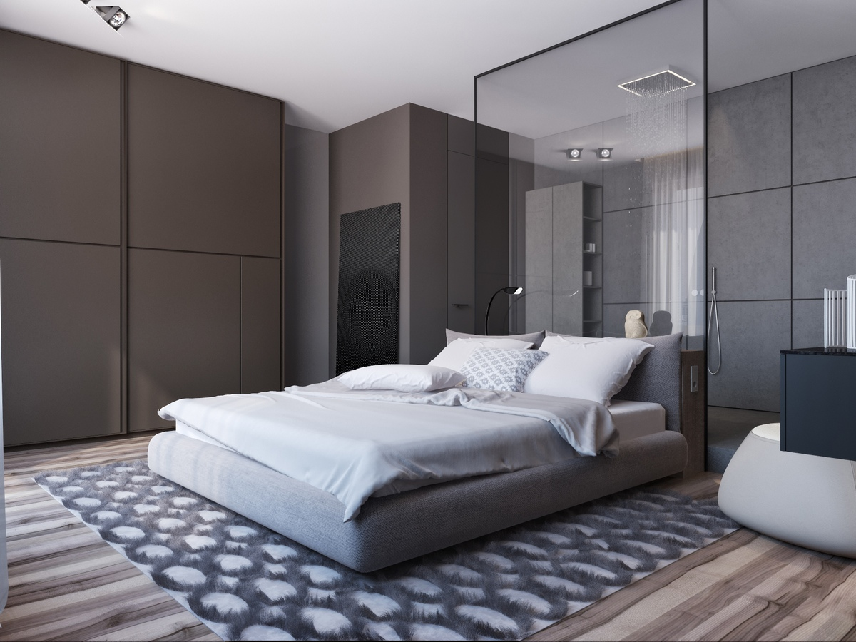 In The Bedroom Grayscale Color Theme Is Made Exciting By Using Diverse Textures