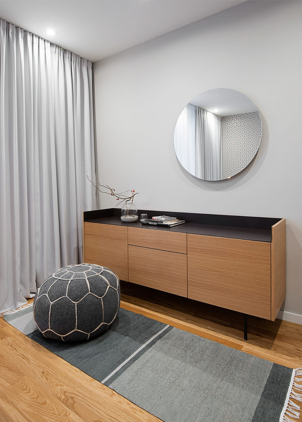 Subtle Geometric Bedroom Design - A mid century inspired apartment with modern geometric accents