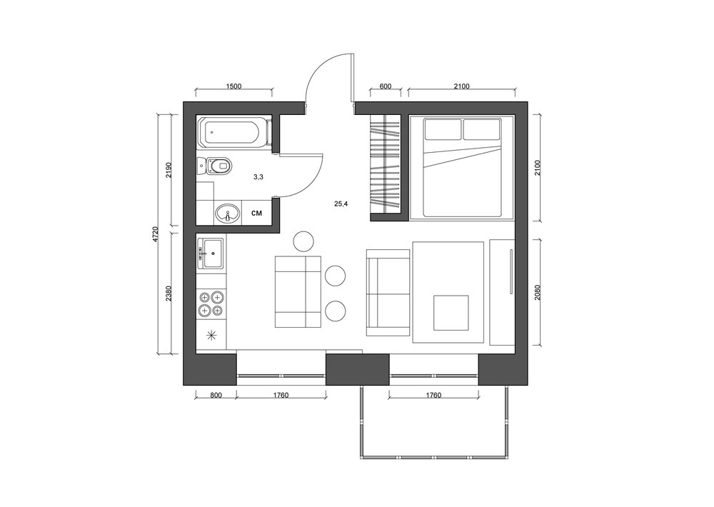 4 super tiny apartments under 30 square meters includes Apartment design floor plan