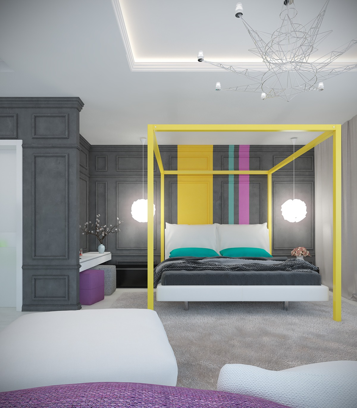 a pair of modern homes with distinctively bright color themes. Black Bedroom Furniture Sets. Home Design Ideas