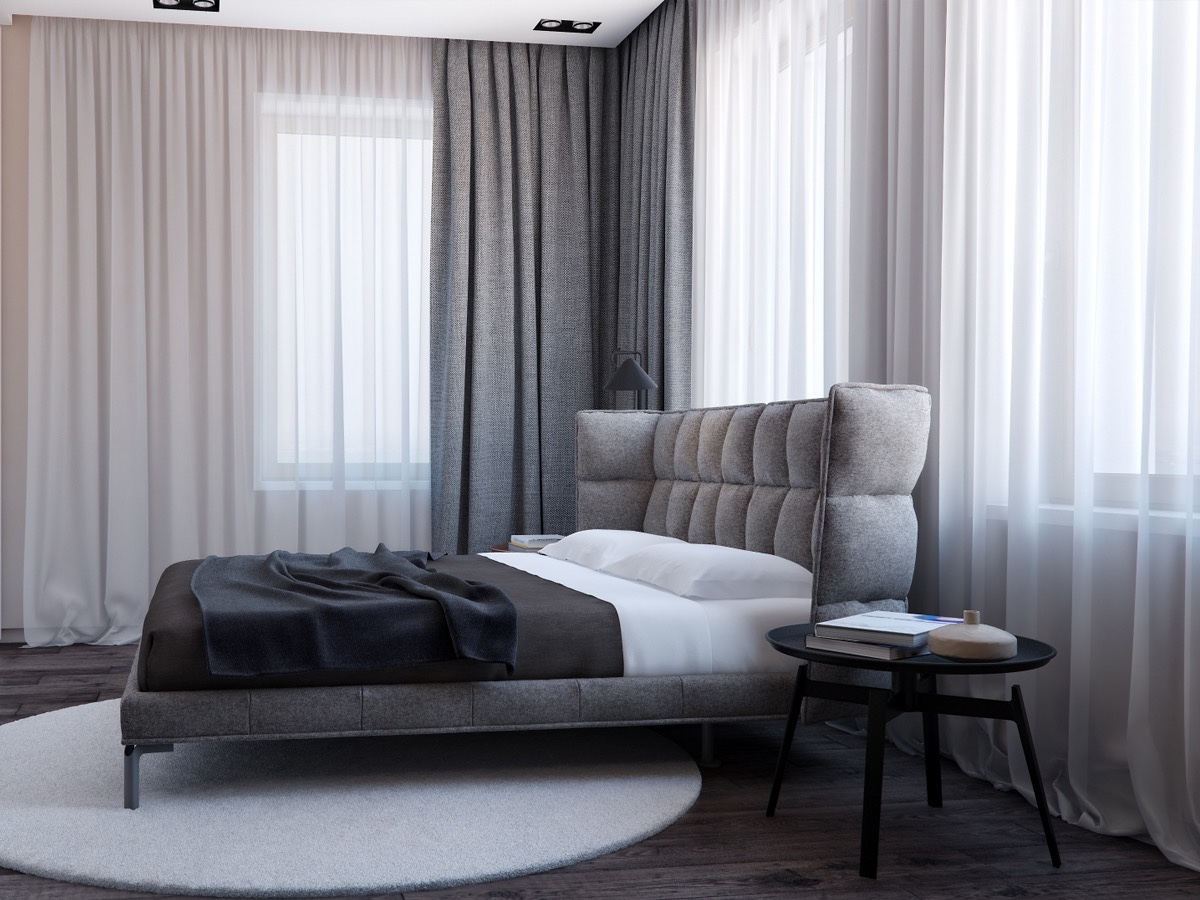 Textural Gray Bedroom - Two apartments with sleek grayscale interiors