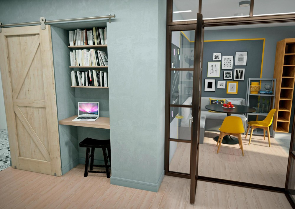 Tiny Hidden Office - 2 bright homes with energetic yellow accents