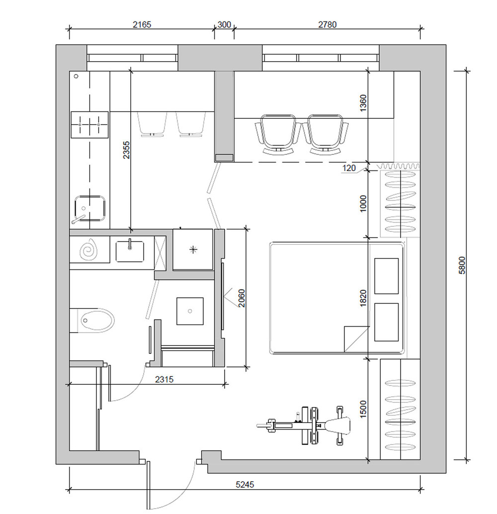 4 super tiny apartments under 30 square meters includes for Floor layout