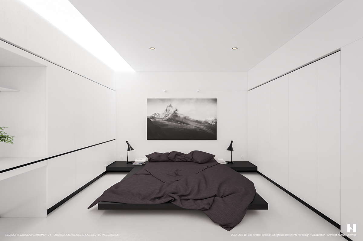 6 perfectly minimalistic black and white interiors for Minimalist black and white bedroom