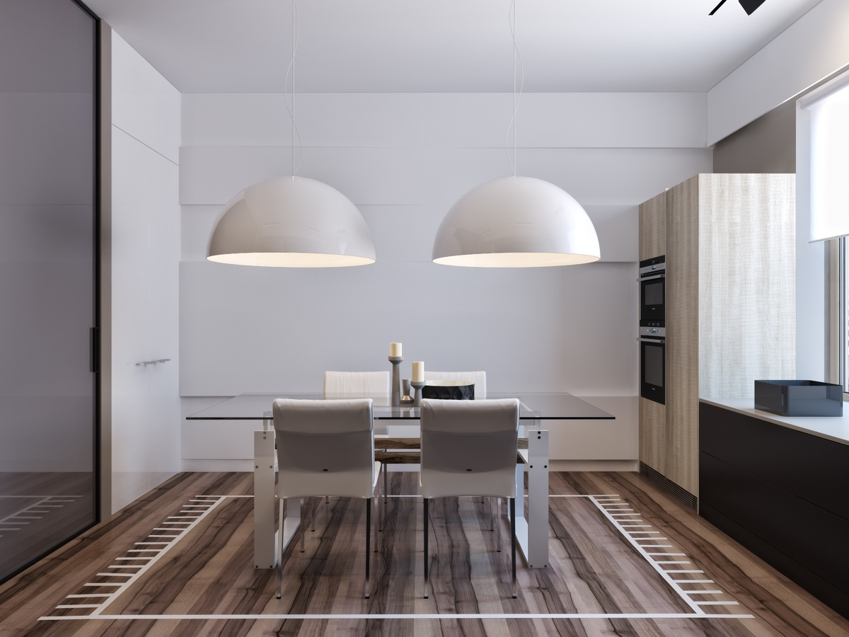 Unique Dining Room Rug Ideas - Two apartments with sleek grayscale interiors
